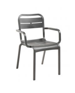 Grosfillex UT511002 Cannes Charcoal Resin Outdoor Stacking Arm Chair