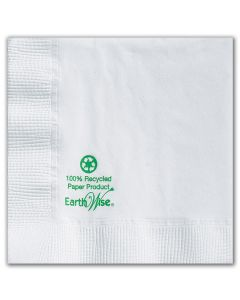 Hoffmaster 057300 Earth Wise White Recycled Beverage Cocktail Napkin - 2 Ply