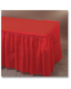 """Hoffmaster 110011 29"""" x 14' Red Plastic Table Skirt"""