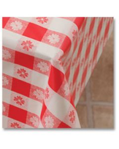 """Hoffmaster 112006 54"""" x 108"""" Red Gingham Plastic Table Cover"""