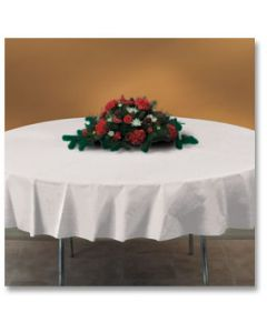 """Hoffmaster 112010 82"""" White Octy-Round Plastic Table Cover"""