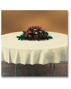 """Hoffmaster 112012 82"""" Ivory Octy-Round Plastic Table Cover"""