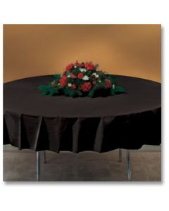 "Hoffmaster 112013 82"" Black Octy-Round Plastic Table Cover"