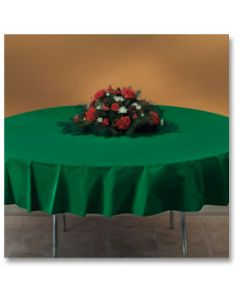 "Hoffmaster 112015 82"" Hunter Green Octy-Round Plastic Table Cover"