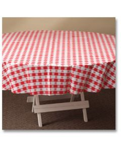"Hoffmaster 112016 84"" x 84"" Red Gingham Round Plastic Table Cover"