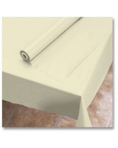 """Hoffmaster 113002 40"""" x 100' Ivory Plastic Table Cover Roll"""