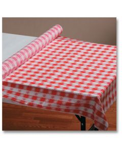 """Hoffmaster 113006 40"""" x 100' Red Gingham Plastic Table Cover Roll"""