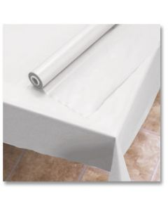"""Hoffmaster 114000 40"""" x 300' White Plastic Table Cover Roll"""