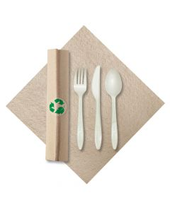 Hoffmaster 119993 Linen-Like Natural CaterWrap w/ Cutlery