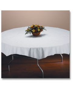 "Hoffmaster 210100 72"" White Octy-Round Tissue/Poly Table Cover"