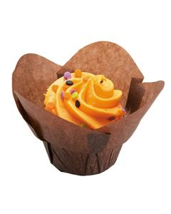 "Hoffmaster 611111 1-1/4"" x 1-1/2"" Small Chocolate Lotus Baking Cup"