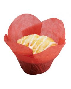 "Hoffmaster 611112 1-1/4"" x 1-1/2"" Small Red Lotus Baking Cup"