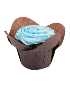 "Hoffmaster 611114 2"" x 2-3/4"" Large Chocolate Lotus Baking Cup"