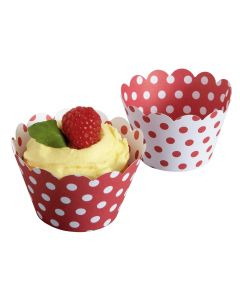 Hoffmaster 611130 Red & White Polka Dot Cupcake Wrapper