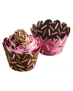 Hoffmaster 611132 Chocolate & Pink Cupcake Wrapper
