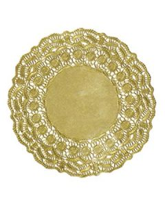 """Hoffmaster GO910SP 10"""" Brooklace Gold Foil Round Lace Doilies"""