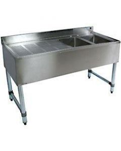 """John Boos 21"""" x 48"""" Two Compartment Bar Sink w/Left Drainboard"""