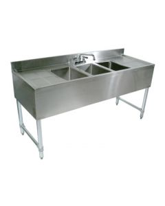 John Boos EUB3S72-2D-X  3 Comp Bar Sink w/Right & Left Drainboards