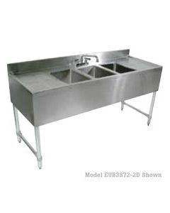 John Boos EUB4S72-2D-X  4 Comp Bar Sink w/Right & Left Drainboards
