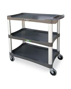 Lakeside 2503 Charcoal 3 Shelf Utility Cart, 300 lb Capacity