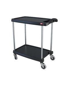 "Metro MY1627-24BL myCart 18"" x 32"" Black Two-Shelf Utility Cart"