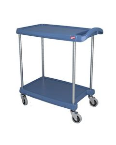 "Metro MY1627-24BU myCart 18"" x 32"" Blue Two-Shelf Utility Cart"