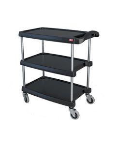 "Metro MY1627-34BL myCart 18"" x 32"" Black Three-Shelf Utility Cart"