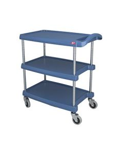 "Metro MY1627-34BU myCart 18"" x 32"" Blue Three-Shelf Utility Cart"