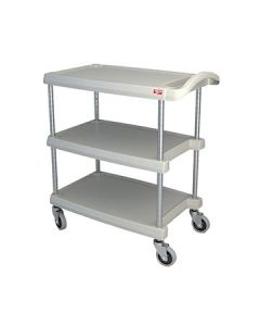 "Metro MY1627-34G myCart 18"" x 32"" Gray Three-Shelf Utility Cart"