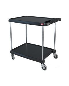 "Metro MY2030-24BL myCart 24"" x 35"" Black Two-Shelf Utility Cart"