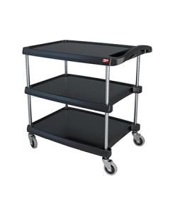 "Metro MY2030-34BL myCart 24"" x 35"" Black Three-Shelf Utility Cart"