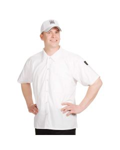 Chef Revival CS006WH-XS Short Sleeve Cook Shirt Poly-Cotton, White, XS