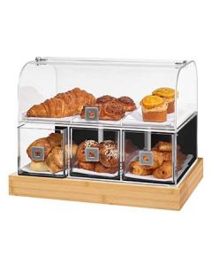 """Rosseto BD141 21"""" x 13.8"""" x 16.5"""" Dome Drawer Bakery Display Case - Bamboo Base"""