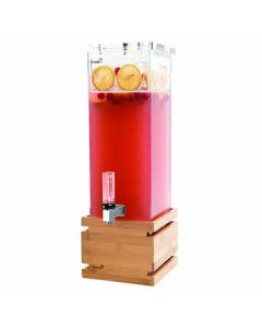 Rosseto LD112 2 Gal Square Clear Acrylic Beverage Dispenser - Bamboo