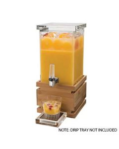 Rosseto LD116 1 Gal Square Clear Acrylic Beverage Dispenser - Bamboo