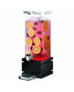 Rosseto LD121 2 Gal Square Clear Acrylic Beverage Dispenser - Black Bamboo
