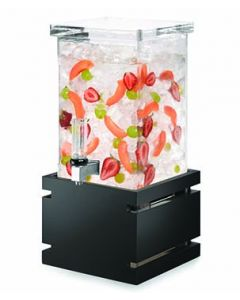 Rosseto LD122 1 Gal Square Clear Acrylic Beverage Dispenser - Black Bamboo