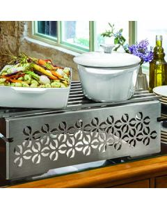 """Rosseto SK043 Iris Multi-Chef 21.5"""" x 13.5"""" Stamped Stainless Food Warmer Kit"""