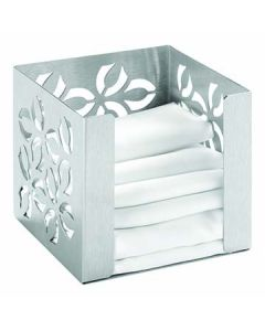 "Rosseto SM262 Iris 5.25"" x 5.5"" x 5.25"" Square Stainless Napkin Holder"