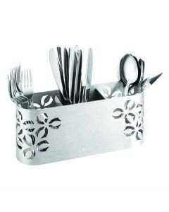 "Rosseto SM263 Iris 11.8"" x 3.2"" x 5.3"" 3-Compartment Stainless Steel Flatware Holder"