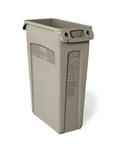 Rubbermaid FG354060BEIG Slim Jim 23-Gal Beige Vented Trash Container