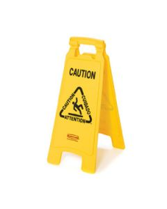 "Rubbermaid Multi-lingual ""Caution"" Floor Sign, Yellow"