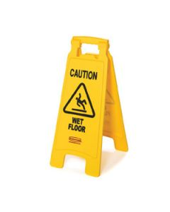 "Rubbermaid FG611277YEL 2-Sided ""Caution Wet"" Floor Sign, Yellow"