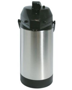 Service Ideas SVAP30L 3 Liter Brushed Stainless Airpot w/ Black Lid