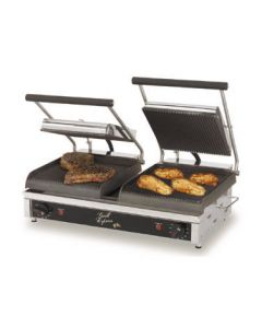 """Star GX20IG Grill Express 20"""" x 10"""" Grooved Iron Double Panini Grill"""