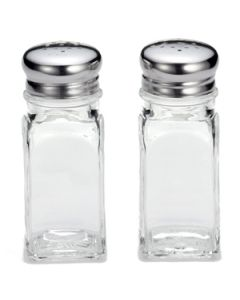 Tablecraft 154S&P 2 oz Square Glass Salt & Pepper Shakers, 6 dz