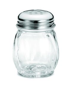 Tablecraft 260-1 6 oz Swirled Glass Cheese Shaker w/Chrome Perf Top