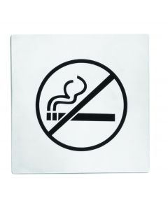 "Tablecraft B14 5 X 5"" Stainless Steel No Smoking Sign"