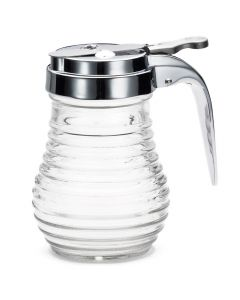 Tablecraft BH7 Beehive 6 oz Clear Glass Syrup Dispenser w/ Chrome Top