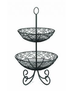 "Tablecraft BKT2 Mediterranean 25"" H Two-Tiered Basket Black Metal"
